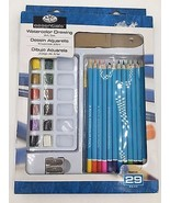 Royal Langnickel Watercolor Paint Art Drawing Pencils Brush 29-Piece Set... - $33.95