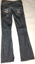 EMBROIDERED JUICY COUTURE Tall 27 Womens Jeans Distressed Birds Low Rise USA image 4