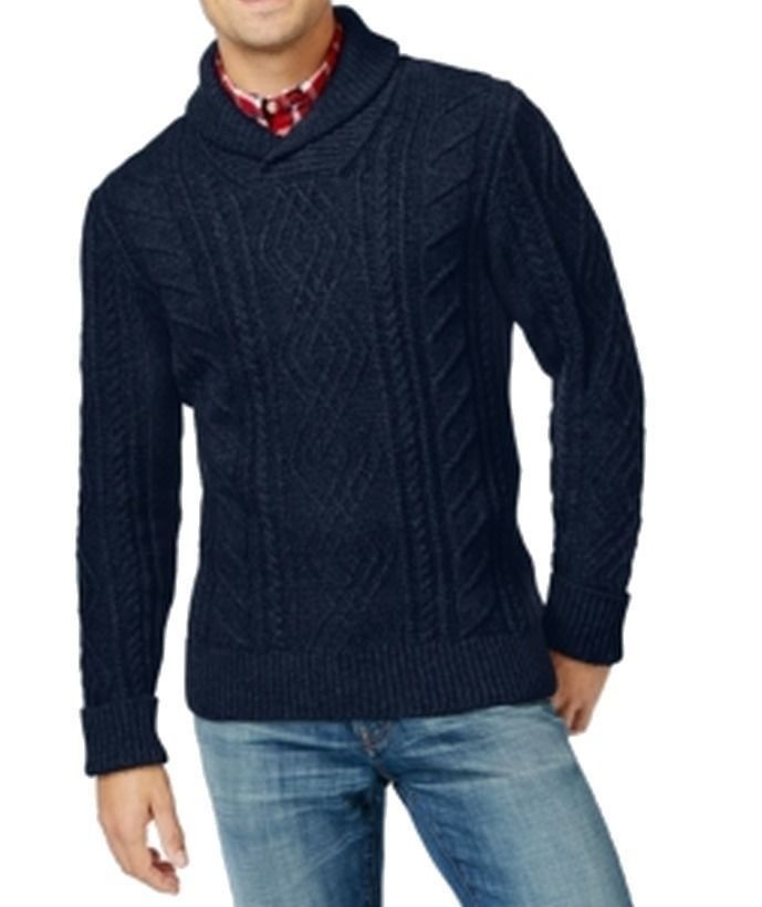 Primary image for Tommy Hilfiger Men's Blue Navy Shawl Collar Cable Knit Pullover Sweater