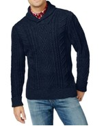 Tommy Hilfiger Men's Blue Navy Shawl Collar Cable Knit Pullover Sweater - $39.99