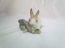 Vintage Retired LLADRO Porcelain Bunny Rabbit Eating on a Log Figurine - $142.49
