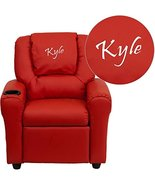 Flash Furniture Personalized Vinyl Kids Recliner with Cup Holder and Hea... - $130.59