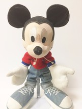 Disney Applause Black Denim Stuffed Mickey Mouse  - $30.84