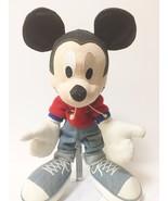 Disney Applause Black Denim Stuffed Mickey Mouse  - $23.99