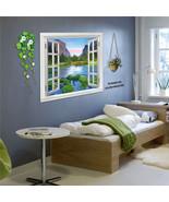 110 x 60cm Window Mountain Landscape DIY Wall Poster Sticker Bed Room Ba... - $13.65