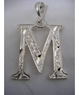 INITIAL LETTER M PENDANT STERLING SILVER BEAUTIFUL DESIGN WITH DIAMOND C... - $18.65