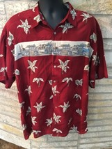 CAMPIA MODA Tropical Hawaiian Shirt Mens XL Rayon Short Sleeves Red. Woo... - $19.26