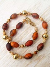 Vintage Napier Cream and Brown Short Beaded Necklace Gold Tone Bead Collectible  - $16.75