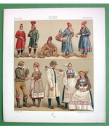 SWEDEN Costume of Lapps Wedding Couple Bride - RACINET Color Litho Print - $12.15