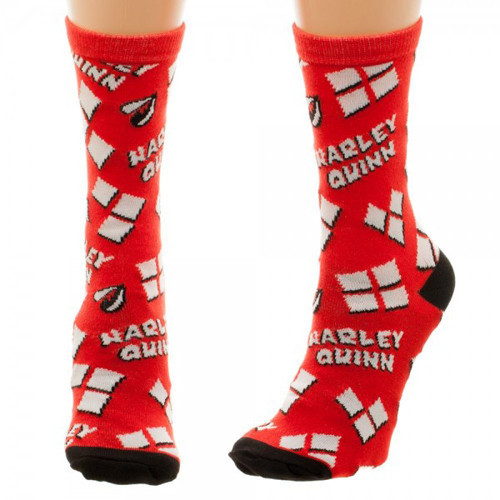 Harley quinn heart logo tossed print jr crew socks