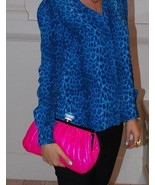 By Malene Birger Neon Pink Quilted Kvinta Clutch Bag with Resin Crystal ... - $125.00