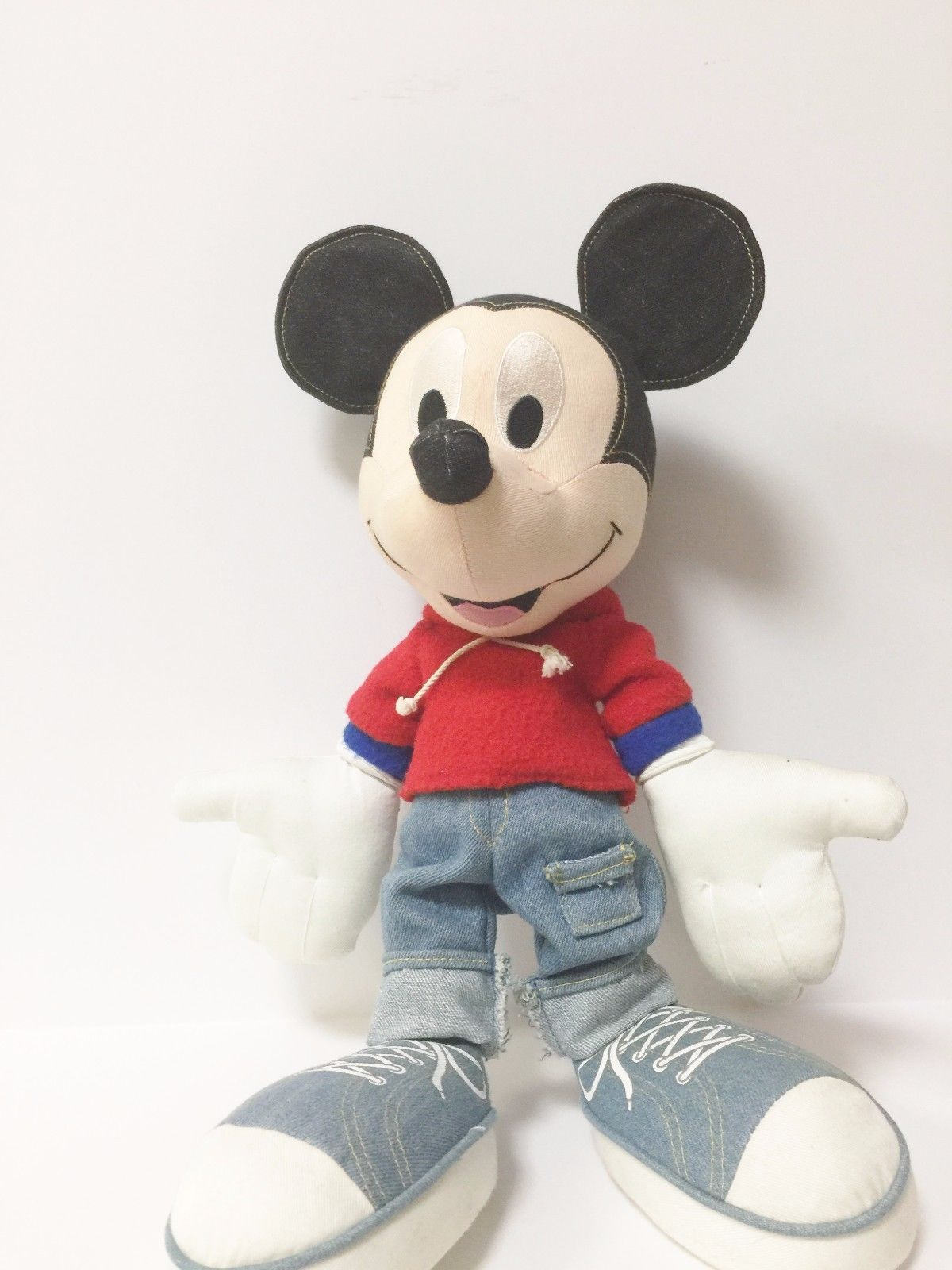Disney Applause Black Denim Stuffed Mickey Mouse