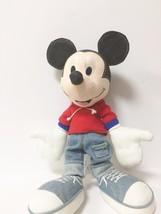 Disney Applause Black Denim Stuffed Mickey Mouse  image 5