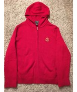 Women's Lauren Ralph Lauren Cotton Red Full Zipper Cardigan Sweater,size M - $36.99