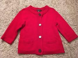 Women's Lauren Ralph Lauren Cotton Red Heavy Cardigan Sweater, Size M - $36.99