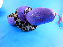 "50"" Plush glittery Purple Snake Plush Black, brown & white Wild Republic 2012 - $6.92"