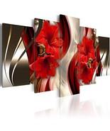 Oversized Framed Canvas Wall Art Red Flower Print Painting Modern Contem... - $181.12