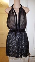 NWT Rare ASOS Petite Sexy Open Front and Back Dress US 6 Lace w.Velvet Trim - $39.99