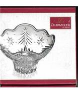 Mikasa Christmas Night Crystal Footed Bowl NIB  - $14.99