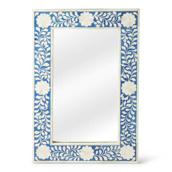 Anthropologie Horchow Bone Inlay French Moroccan  Wall Mirror Stunning Blue