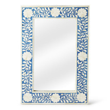 Anthropologie Horchow Bone Inlay French Moroccan  Wall Mirror Stunning Blue - $292.05