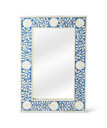 Anthropologie Horchow Bone Inlay French Moroccan  Wall Mirror Stunning Blue - £226.84 GBP