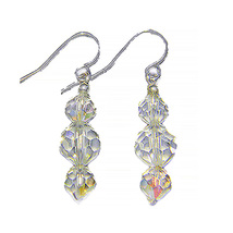 AB Crystal Beaded Triplet Sterling Silver Dangle Earrings - $21.99