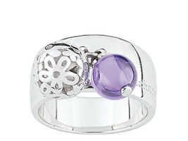 Ring Cacharel simple with two balls and Flowers (CSR234A) Sterling Silve... - £44.66 GBP