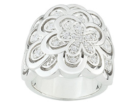 Ring Cacharel simple with MAny flowers and stones(CSR242Z) Sterling Silv... - £85.07 GBP
