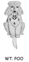 Pink Cloud White Poodle Dog Swinging Pendulum Clock - $41.99