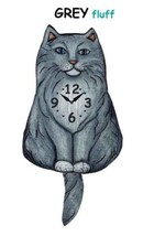 Pink Cloud Grey Fluffy Cat Swinging Pendulum Wall Clock - $41.99