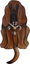 Pink Cloud Bloodhound Swinging Pendulum Wall Clock - $41.99