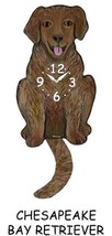Pink Cloud Chesapeake Bay Retriever Swinging Tail Pendulum Wall Clock - $41.99
