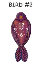 Pink Cloud Purple Bird #2 Swinging Tail Feather Pendulum Wall Clock - $41.99