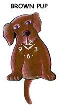 Pink Cloud Brown Pup Swinging Pendulum Wall Clock - $41.99