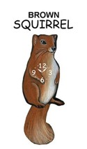 Pink Cloud Brown Squirrel Swinging Tail Pendulum Wall Clock - $41.99