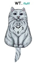Pink Cloud White Fluffy Cat Swinging Pendulum Wall Clock - $41.99