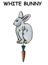 Pink Cloud White Bunny and Carrot Swinging Pendulum Wall Clock - $41.99