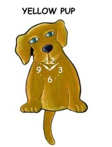 Pink Cloud Yellow Pup Swinging Pendulum Wall Clock - $41.99