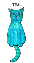 Pink Cloud Teal Cat Swinging Pendulum Wall Clock - $41.99