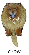 Pink Cloud Chow Chow Dog Swinging Tail Pendulum Wall Clock - $41.99