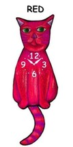 Pink Cloud Bright Red Cat Swinging Pendulum Wall Clock - $41.99