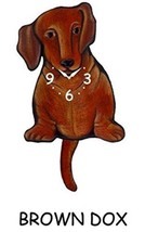 Pink Cloud Brown Dachshund Swinging Pendulum Wall Clock - $41.99