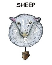 Pink Cloud White Sheep Pendulum Wall Clock - $41.99