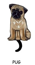 Pink Cloud Pug Dog K9 Swinging Pendulum Wall Clock - $41.99