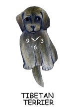 Pink Cloud Grey Tibetan Terrier Swinging Pendulum Wall Clock - $41.99