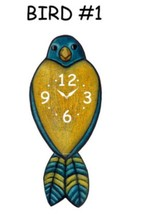 Pink Cloud Blue and Yellow Bird #1 Swinging Tail Feather Pendulum Wall C... - $41.99