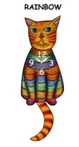 Pink Cloud Rainbow Orange Cat Swinging Pendulum Wall Clock - $41.99