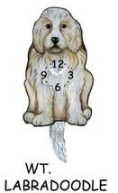 Pink Cloud White Labradoodle Dog Swinging Pendulum Wall Clock - $41.99