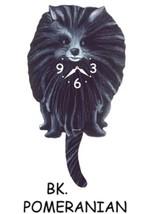 Pink Cloud Black Pomeranian Swinging Pendulum Wall Clock - $41.99